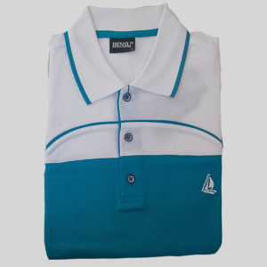 100% Cotton Cerulean Blue and White with a Chest Stripe Polo T-Shirt by Bensu KES 2500