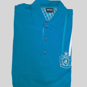 100% Cotton Cerulean Blue with a Vertical Stripe Polo T-Shirt by Bensu KES 2500