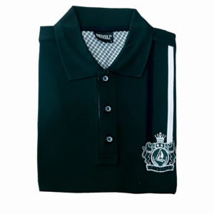 100% Cotton Green with Black and White Stripe Polo T-Shirt by Bensu KES 2500