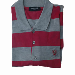 100% Cotton Pink and Grey Stripe Polo T-Shirt by Raymons KES 2500
