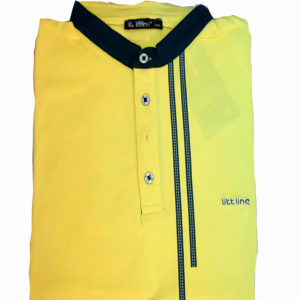 100% Cotton Yellow with Black Stripe V Neck T-Shirt by Littline KES 2000