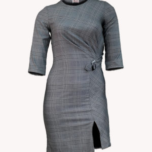 Grey checkered dress with side buckle and front slit Kes 4,500